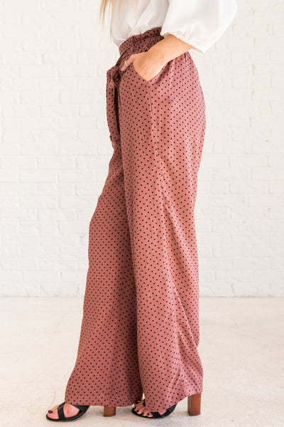 Mauve Pink Blush Purple Nude Polka Dot Palazzo Pants from Affordable Online Boutique