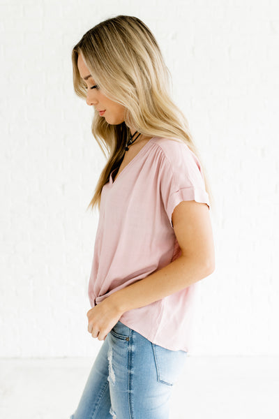 Light Mauve Cuffed Sleeve Keyhole Back Infinity Knot High Low Tops