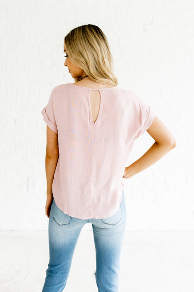 Light Mauve Pink Purple Infinity Knot Business Casual Boutique Tops