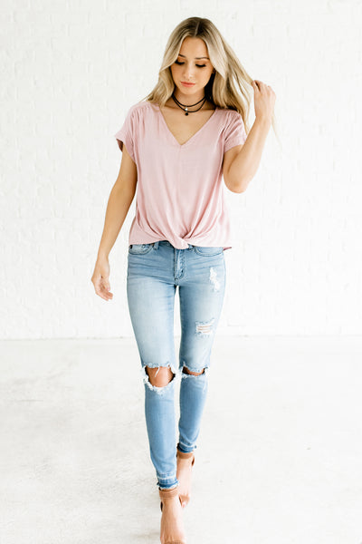 Light Mauve Infinity Knot Tops Affordable Online Boutique Fashion