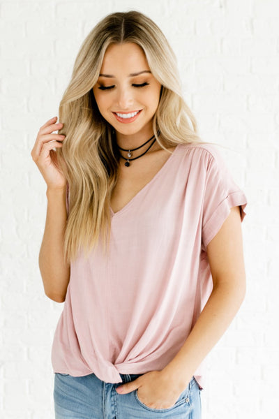 Light Mauve Pink Infinity Knot Cuffed Sleeve High Low Boutique Tops