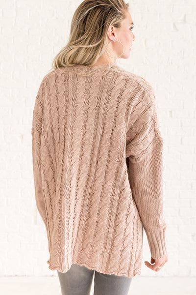 Rose Blush Pink Cozy Cable Knit Sweater Oversized Boyfriend Fit with High Low Hem