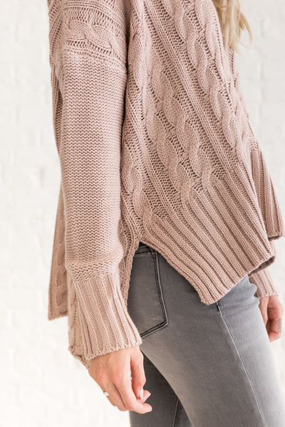 Rose Pink Cute Warm Cable Knit Boyfriend Oversized Pullover Sweaters for Women