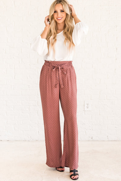 Mauve Purple Cute Polka Dot Printed Palazzo Pants Affordable Online Boutique