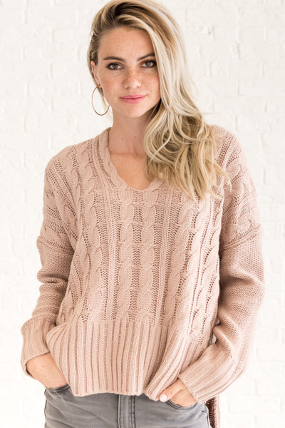 Rose Pink Oversized Boyfriend Cozy Chunky Cable Knit Sweater Pullover