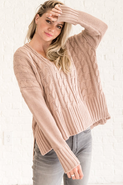 Rose Pink Womens Warm Cozy Cable Knit Sweaters with Oversized Cute Boyfriend Fit