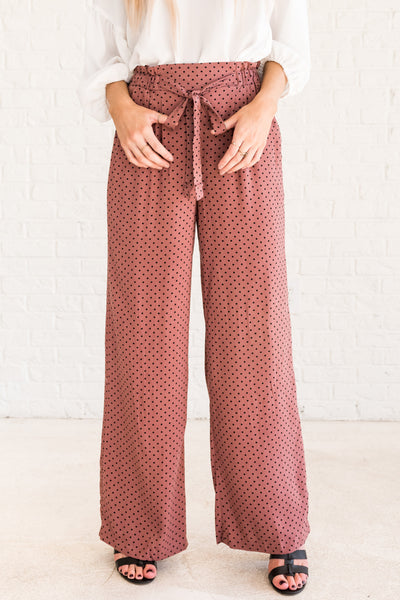 Mauve Pink Purple Polka Dot Cute Boutique Palazzo Pants and Flare Pants