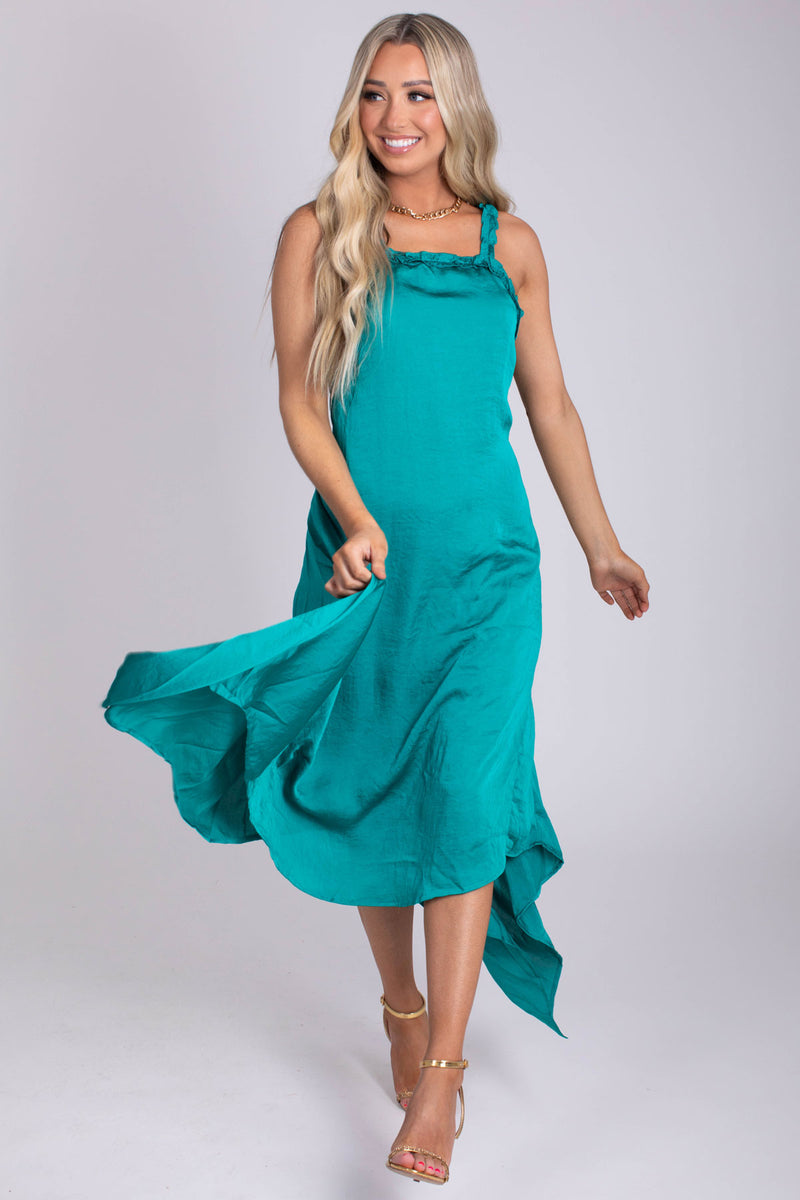 Mermaid Vibes Green Satin Midi Dress