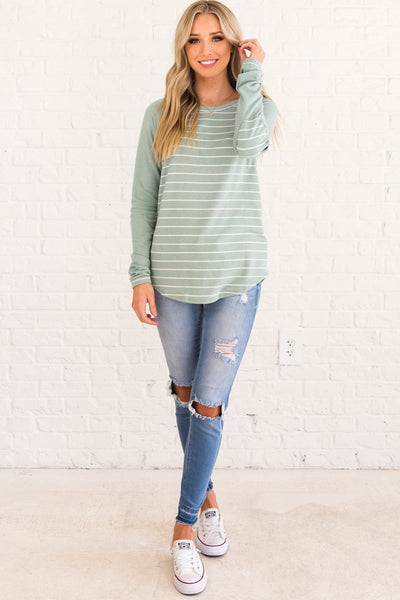 Mint Green Boutique Striped Tops with Elbow Patch Accents and Color Block Style