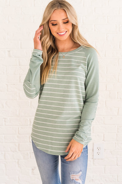 Mint Green Blue Striped Pullover Top with Elbow Patch Accents Affordable Online Boutique