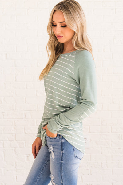 Mint Green Striped Elbow Patch Long Sleeve Boutique Tops for Women