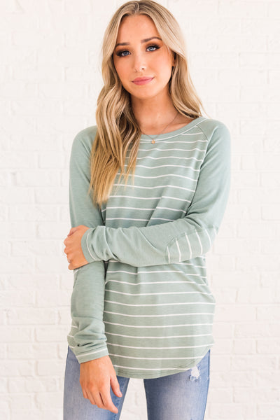 Minty Green Blue Striped Pullover Tops with Elbow Patches for Women