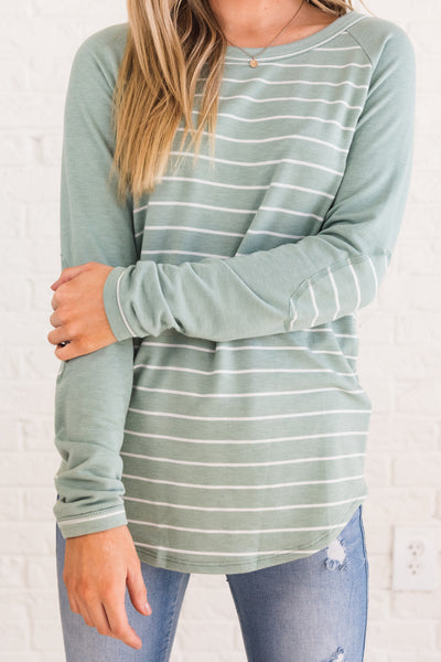 Mint Green Blue Striped Long Sleeve Elbow Patch Tops Womens Winter Fashion Boutique