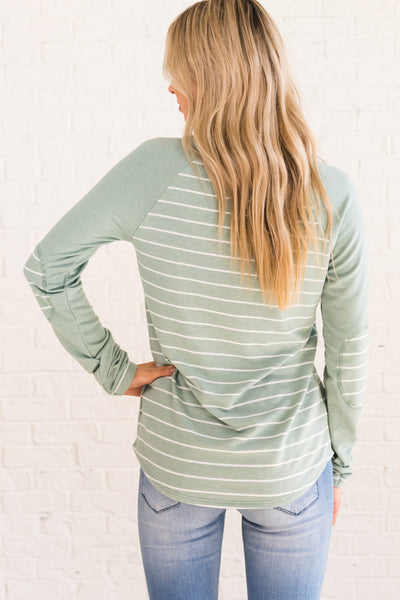 Mint Green Striped Color Block Long Sleeve Top with Elbow Patches