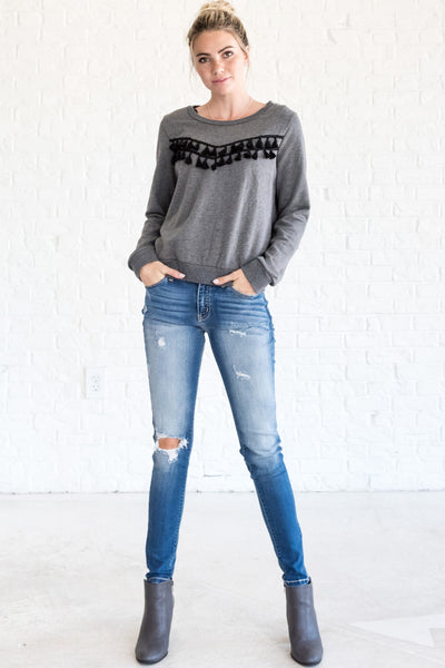 Charcoal Gray Cute Boyfriend Pullovers for Fall