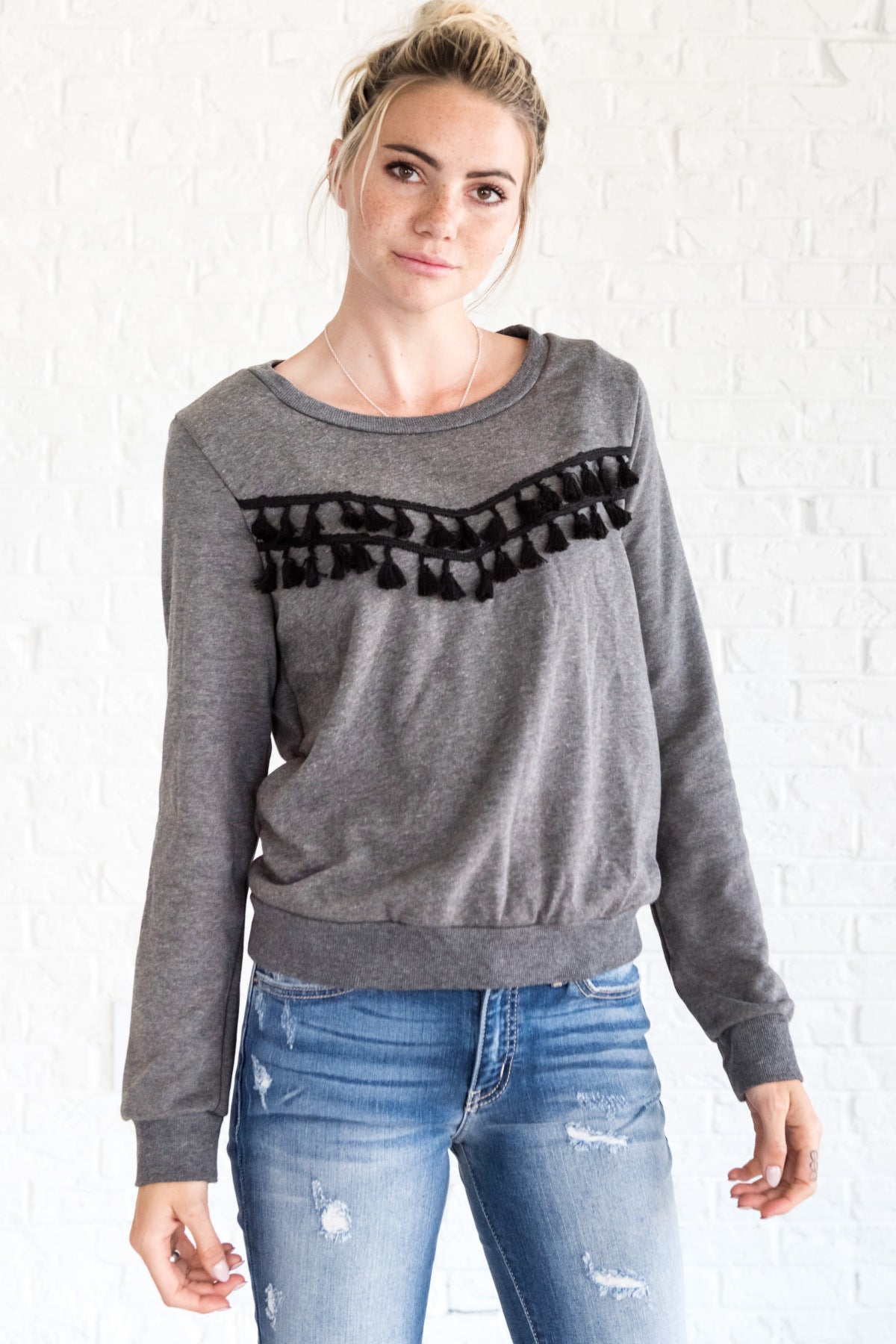 Charcoal Gray Tassel Boho Dimensional Pullover Sweater