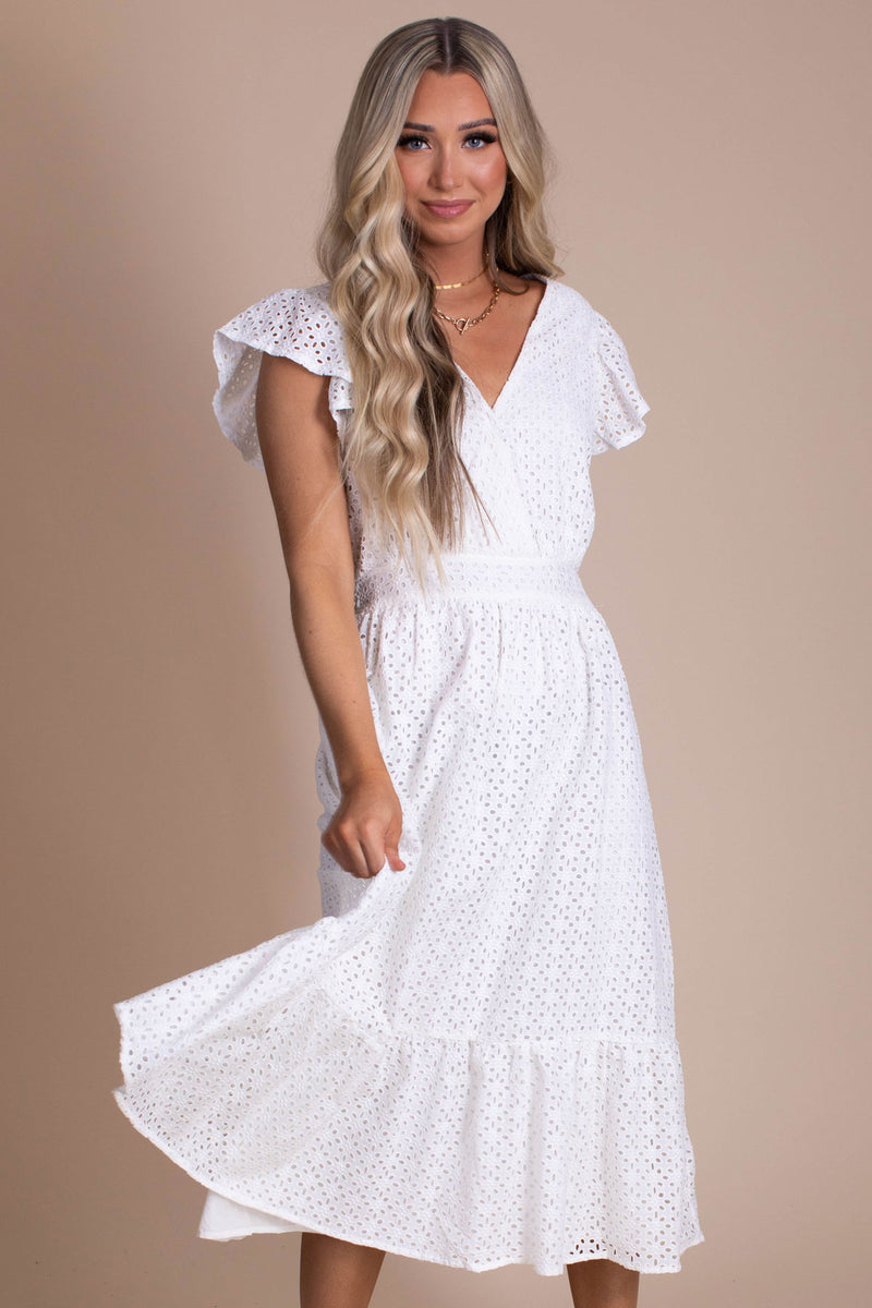 Moonlight Walk Eyelet Midi Dress - White