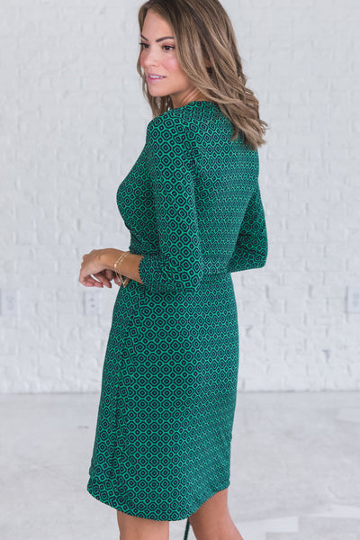 Green Cute Midi Knee Length Wrap Dresses from Affordable Online Boutique