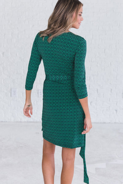 Green Geometric Midi Knee Length Wrap Dresses for Nursing Women