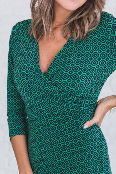 Green and Blue Cute Knee Length Midi Wrap Dresses for the Office Workwear Business Casual