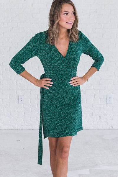 Green Navy Geometric Cute Midi Length Nursing Friendly Office Workwear Wrap Dresses