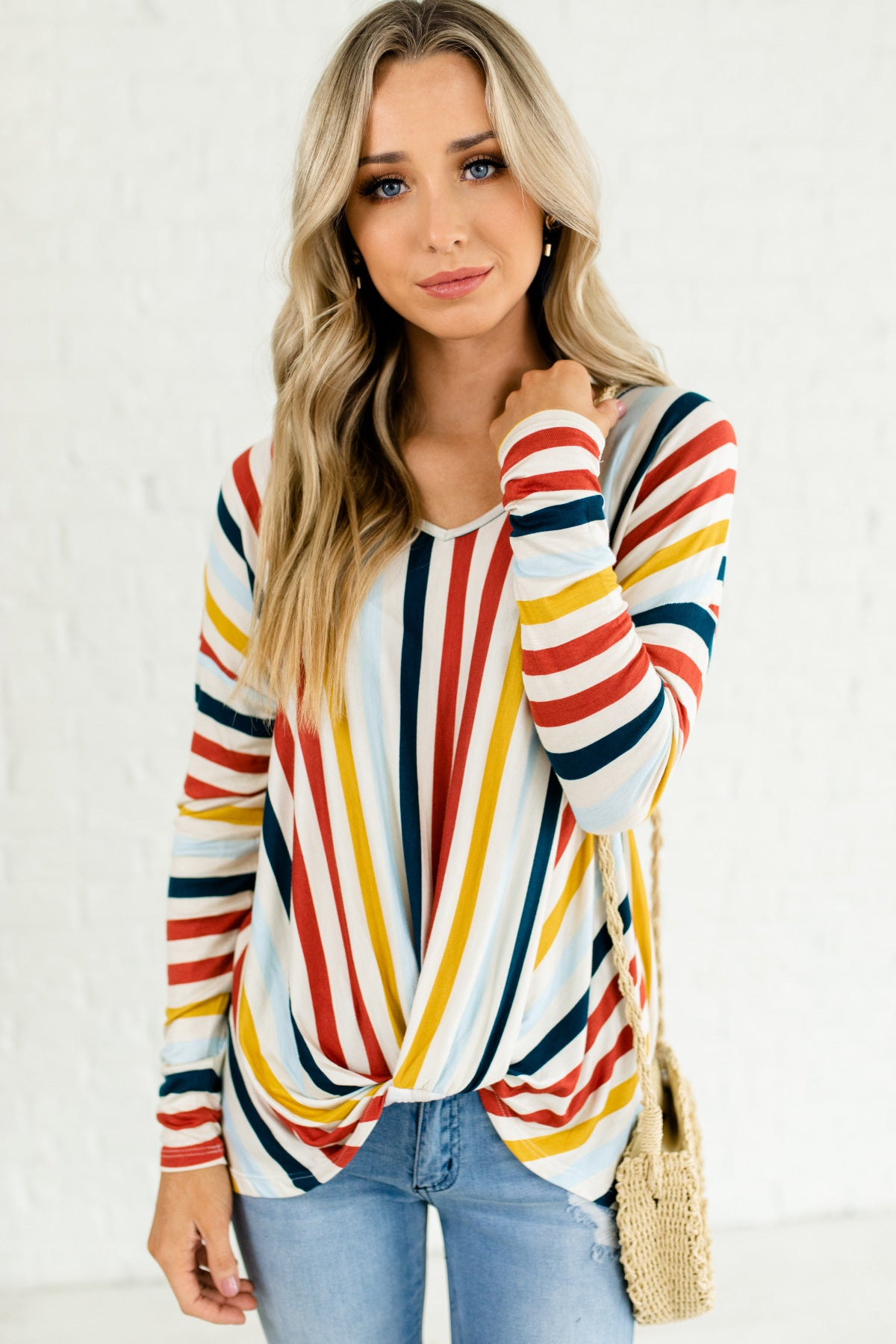 Cream Red Light Blue Yellow Navy Striped Oversized Front Knot Tops Affordable Online Boutique
