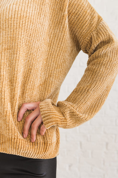 Mustard Yellow Chenille Pullover Cowl Neck Sweaters Winter Fashion