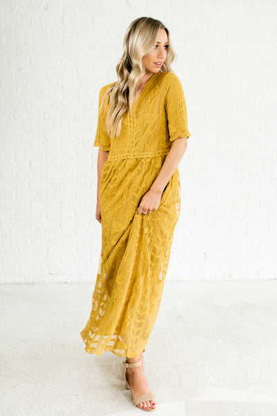 Mustard Yellow Spring Summer Bridesmaid Special Occasion Lace Maxi Dresses