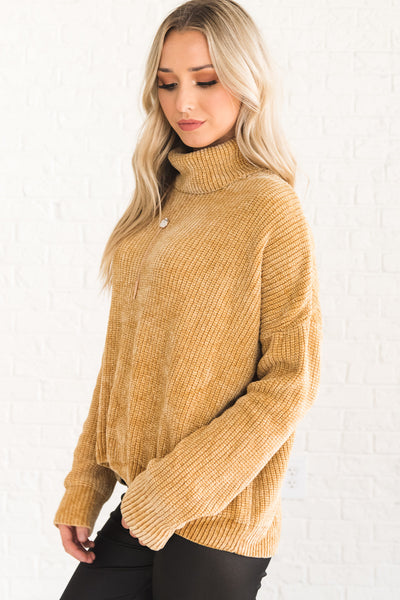 Mustard Yellow Cute Chenille Sweater with Cowl Neck and Soft Knit