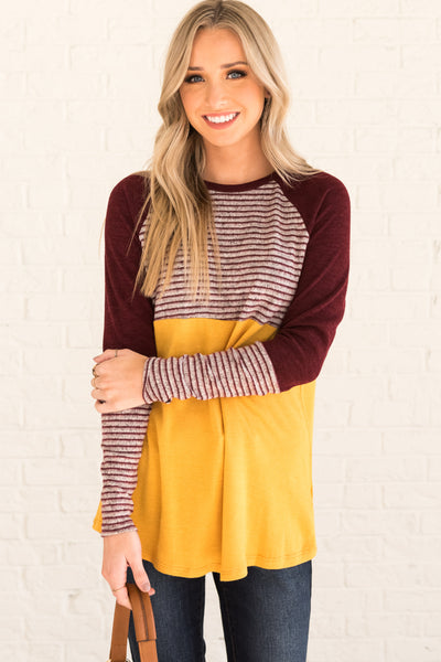 Mustard Burgundy Gray Striped Color Block Long Sleeve Marled Knit Tops