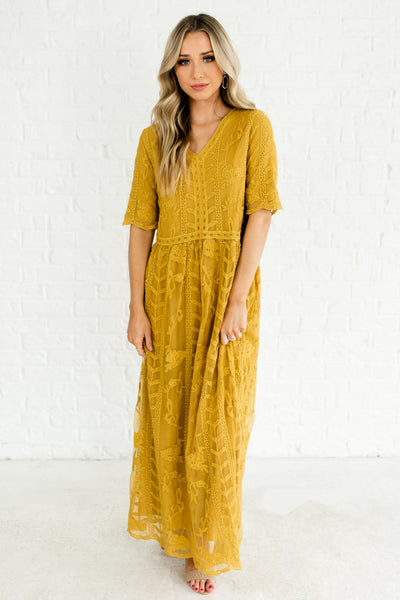 Mustard Yellow Embroidered Floral Lace Overlay Maxi Dresses Affordable Online Boutique Fashion