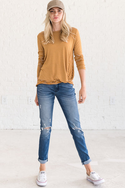Mustard Yellow Striped Front Knot Long Sleeve Tops Affordable Online Boutique