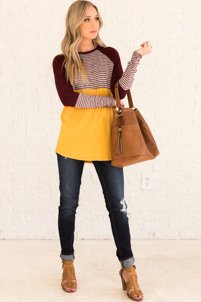 Mustard Burgundy Gray Color Block Long Sleeve Striped Tops Affordable Online Boutique