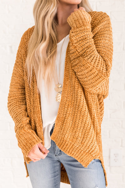 mustard yellow cute chenille cardigan high low long sleeve