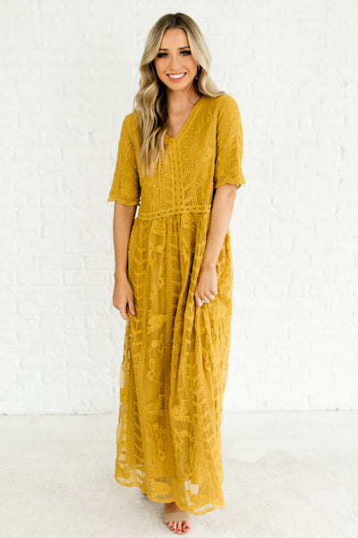 Mustard Yellow Embroidered Floral Lace Overlay Maxi Dresses Affordable Online Boutique