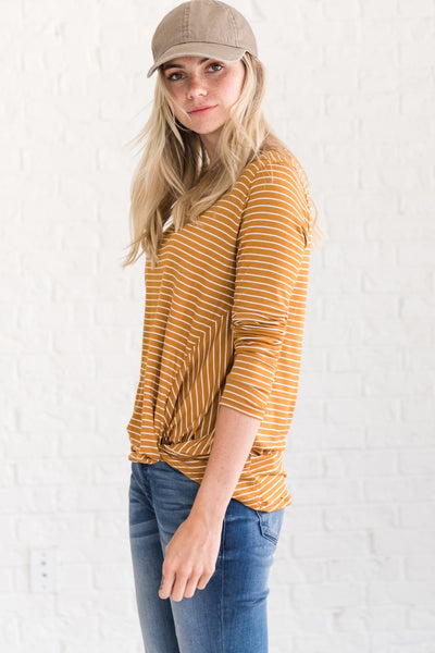 Mustard Yellow Cute Long Sleeve Front Knot Tops Affordable Online Womens Boutique