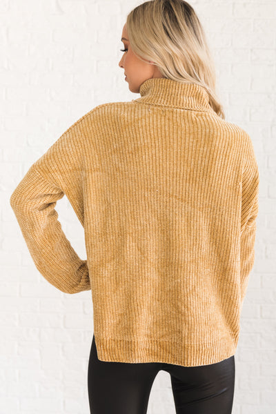 Mustard Yellow Cute Chenille Pullover Turtleneck Cowl Neck Sweaters