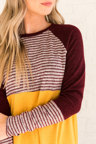 Mustard Yellow Burgundy Red Gray Striped Color Block Long Sleeve Cozy Soft Tops