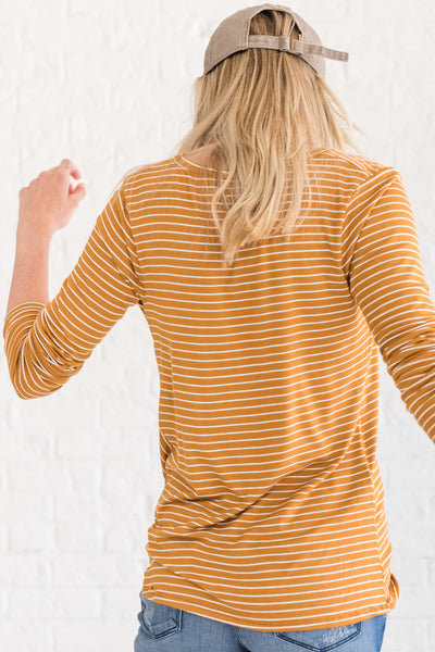 Mustard Yellow White Striped Long Sleeve Front Knot Tops for Winter