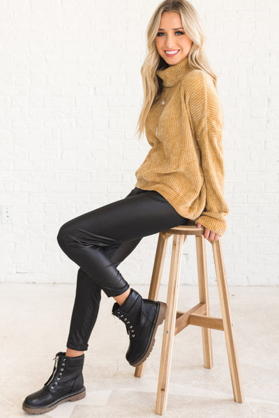 Mustard Topaz Yellow Cowl Neck Chenille Sweaters and Outerwear