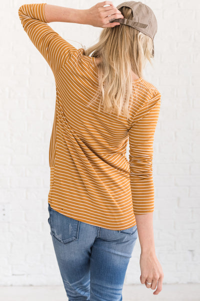 Mustard Yellow Long Sleeve Soft Stretchy Front Knot Tops for Women