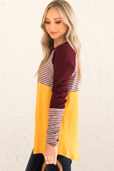 Mustard Burgundy Color Block Striped Long Sleeve Tops with Thumbholes and Marled Material