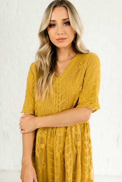 Mustard Yellow Efflorescent Floral Embroidery Lace Maxi Dresses Boutique