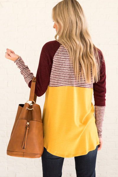 Mustard Burgundy Gray Color Block Long Sleeve Thumbhole Tops with Striped Accents