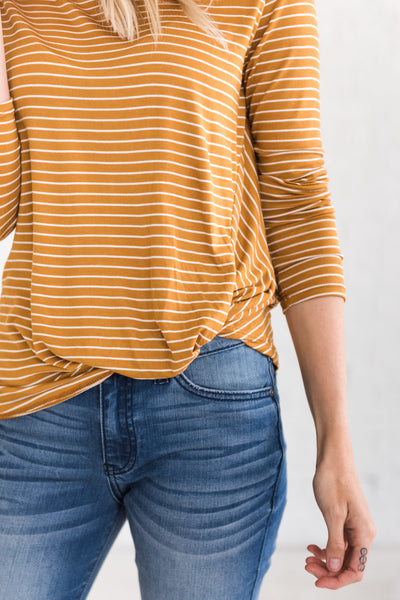 Mustard Yellow Cute Striped Long Sleeve Tops with Asymmetrical Front Knot
