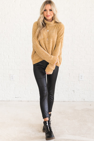 Mustard Yellow Chenille Cowl Neck Sweaters Affordable Online Boutique