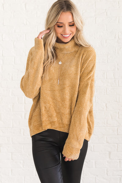 Mustard Yellow Cowl Neck Chenille Soft Knit Sweaters Affordable Online Boutique