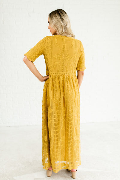 Mustard Yellow Gorgeous Floral Lace Overlay Half Sleeve Maxi Dresses for Spring Summer