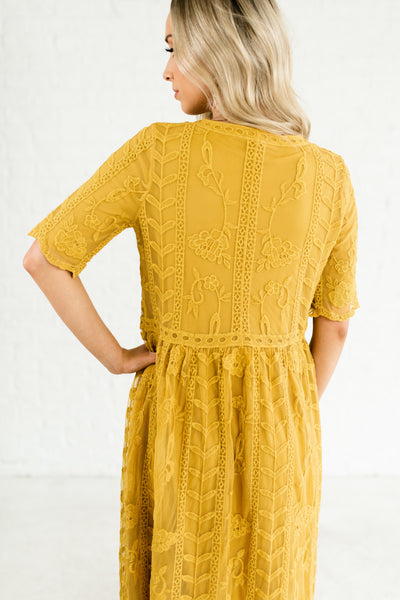 Mustard Yellow Floral Embroidered Lace Overlay Maxi Dresses with Half Sleeves