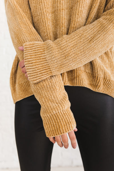 Mustard Yellow Cute Chenille Cowl Neck Sweaters for Women